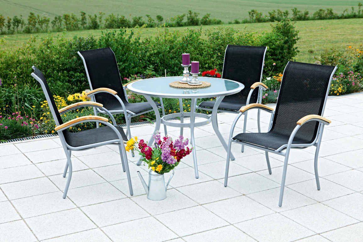 MERXX Gartenmöbelset »Siena«, 5tlg., 4 Sessel, Tisch, stapelbar, Textil, schwarz