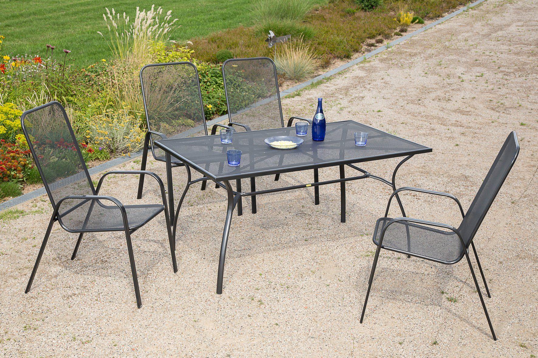 MERXX Gartenmöbelset »Paxos«, 5tlg., 4 Sessel, Tisch, stapelbar, Stahl