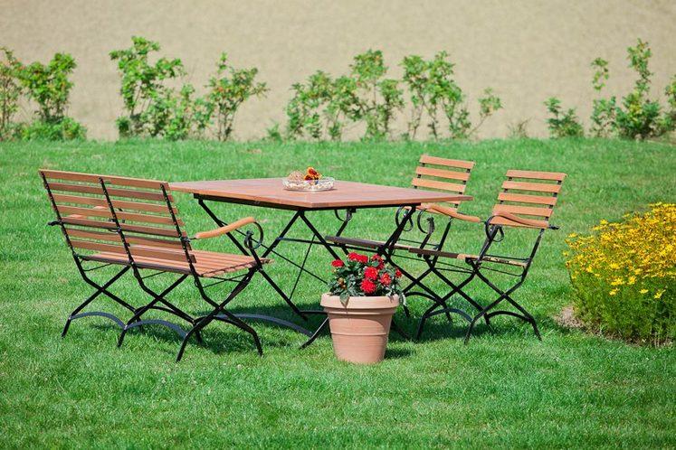 MERXX Gartenmöbelset »Schloßgarten«, 4tlg., 2 Sessel, Bank, Tisch, klappbar, ausziehbar