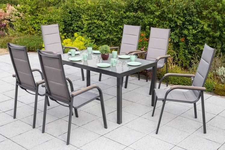 MERXX Gartenmöbelset »Trivero«, 7-tlg., 6 Stapelsessel, Tisch 150x90 cm, Alu/Textil