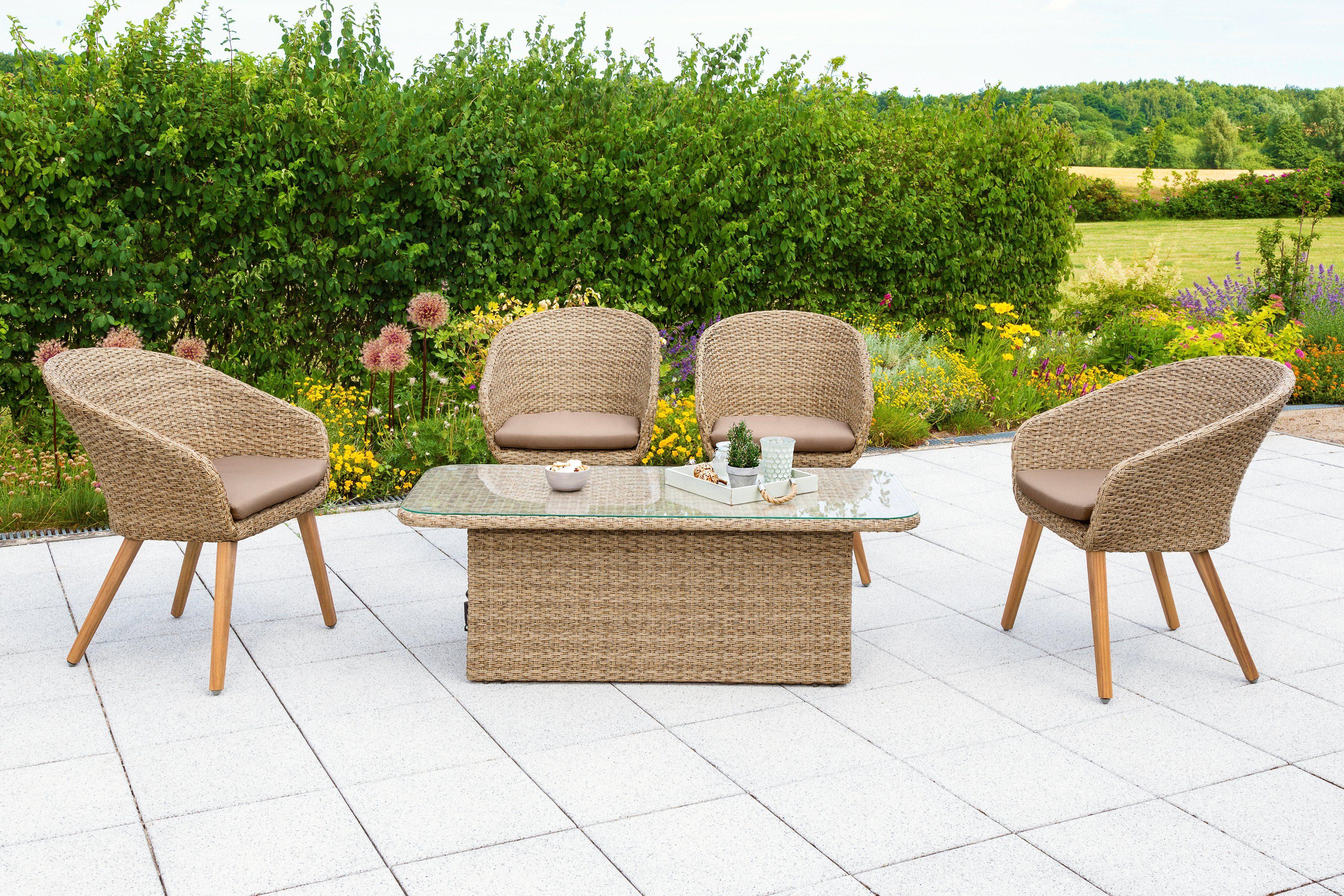 MERXX Loungeset »Arrone«, 9-tlg., 4 Sessel, Tisch 135x60 cm, Polyrattan/Akazie