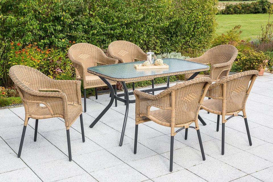 MERXX Gartenmöbelset »Ravenna«, 7tlg., 6 Sessel, Tisch, stapelbar ...