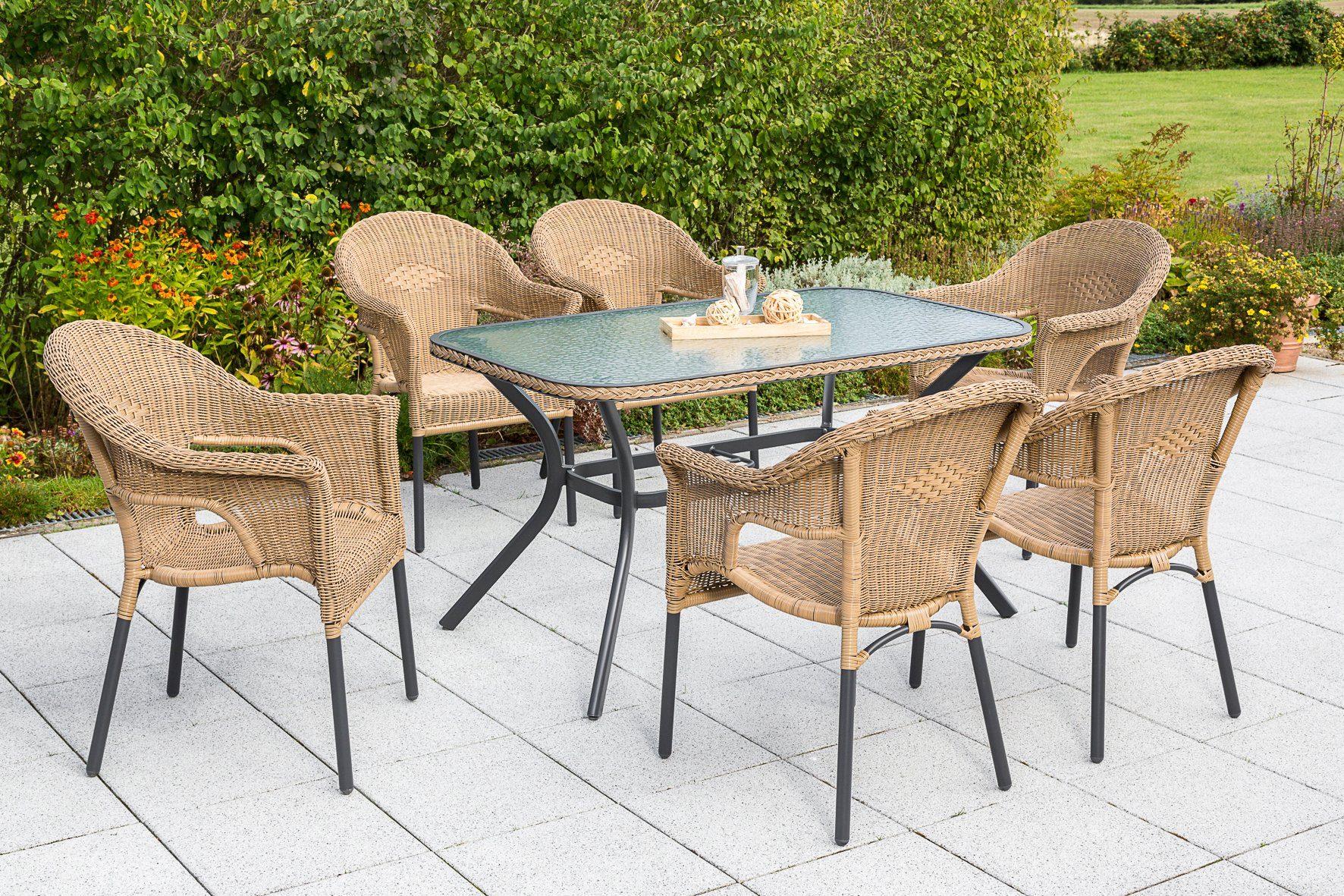 MERXX Gartenmöbelset »Ravenna«, 7tlg., 6 Sessel, Tisch, stapelbar, Polyrattan