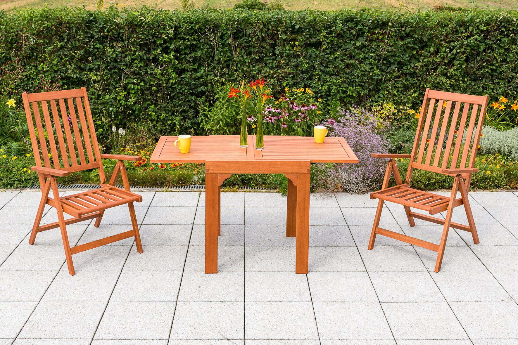 MERXX Gartenmöbelset »Vitoria«, 3tlg., 2 Sessel, Tisch, klappbar, ausziehbar, Eukalyptus
