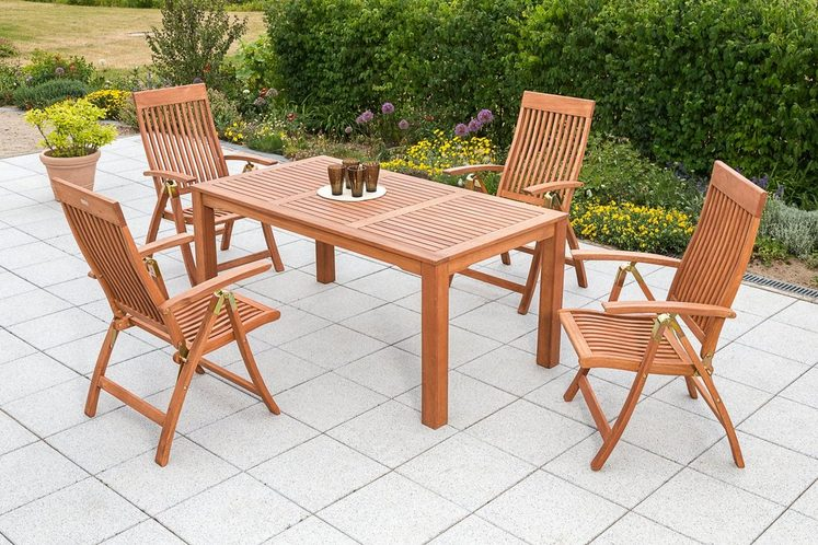 MERXX Gartenmöbelset »Commodoro«, 5tlg., 4 Sessel, Tisch, klappbar, Eukalyptusholz