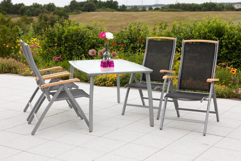 MERXX Gartenmöbelset »Siena«, 5tlg., 4 Sessel, Tisch, klappbar, Textil/Alu