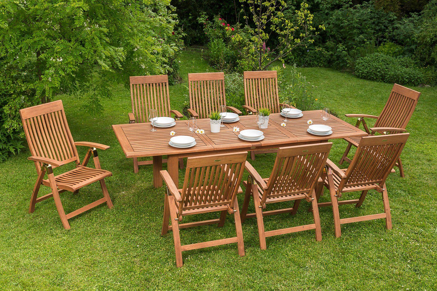 MERXX Gartenmöbelset »Commodoro«, 9tlg., 8 Sessel, Tisch, ausziehbar, klappbar, Eukalyptus