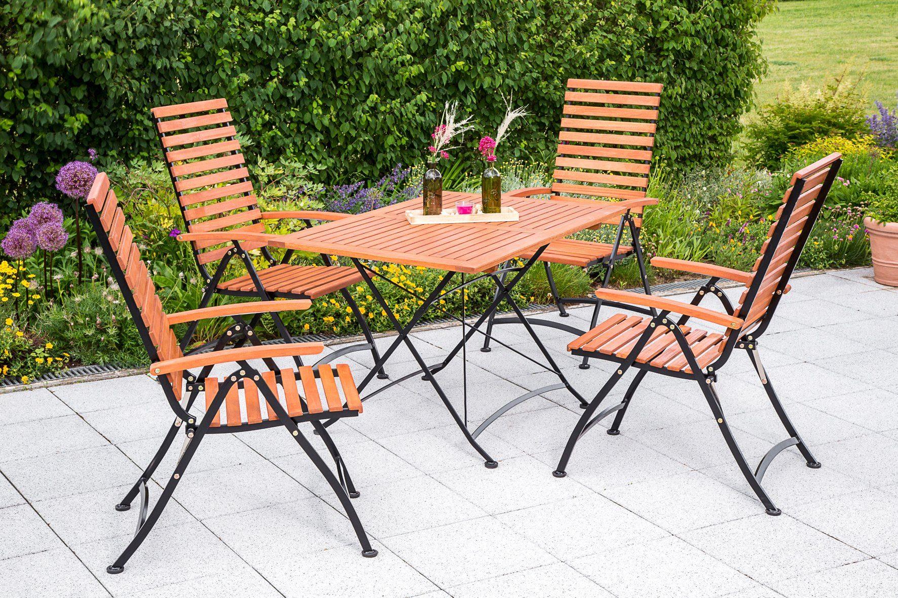 MERXX Gartenmöbelset »Schloßgarten«, 5tlg., 4 Sessel, Tisch, klappbar, Eukalyptusholz, natur