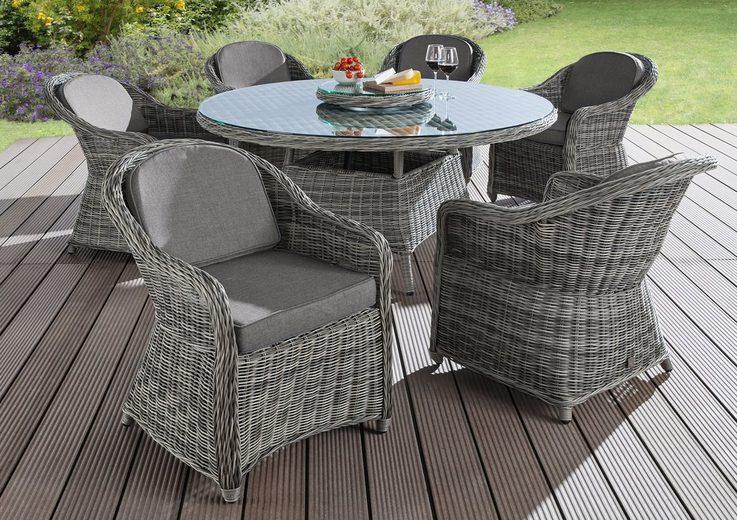 BAIDANI Gartenmöbelset »Fortune«, 19-tlg, 6 Sessel, Tisch Ø 150 cm, Poyrattan
