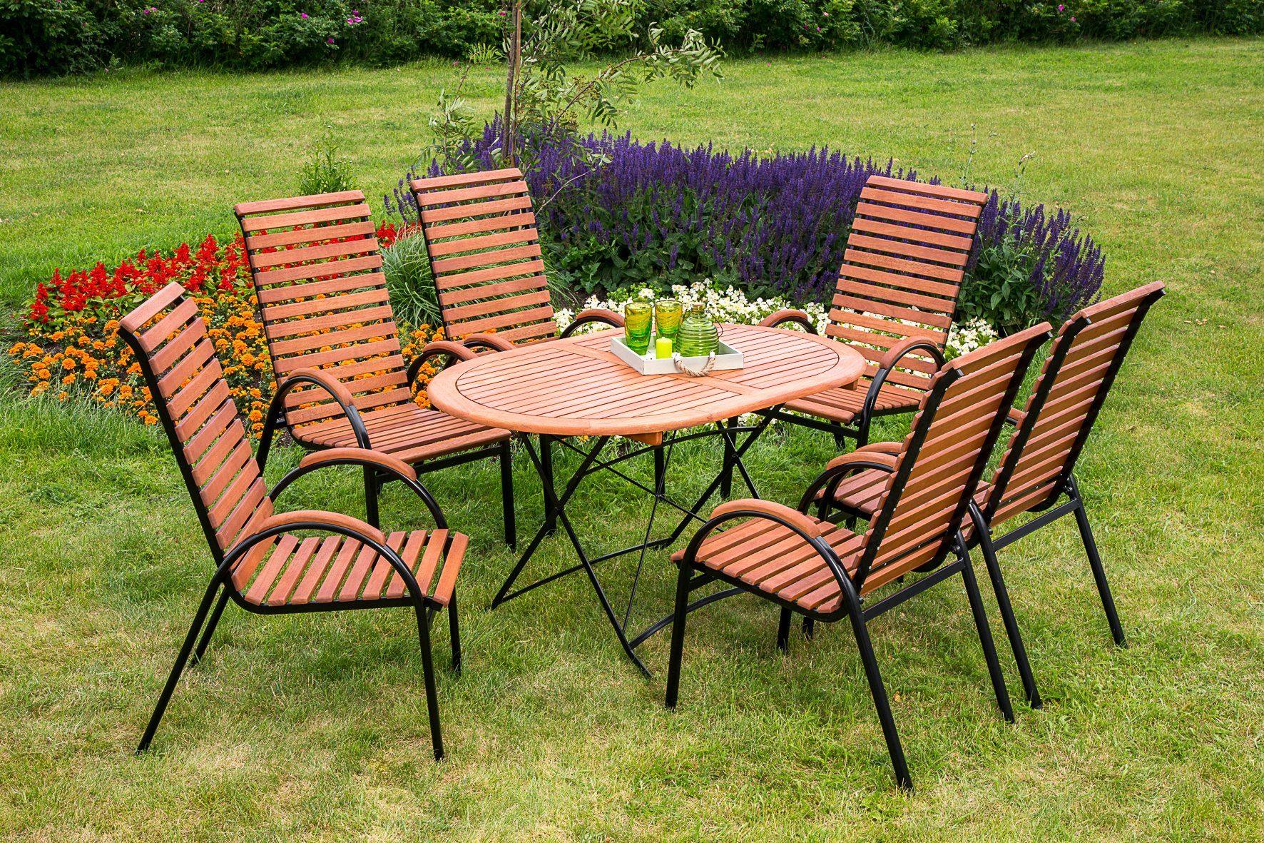 MERXX Gartenmöbelset »Schloßgarten«, 7tlg., 6 Sessel, Tisch, stapelbar, klappbar, Eukalyptus