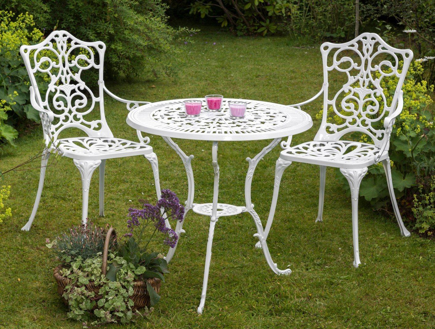 Gartenmöbelset »Lugano«, 3tlg., 2 Stühle, Tisch Ø 70, Aluminium