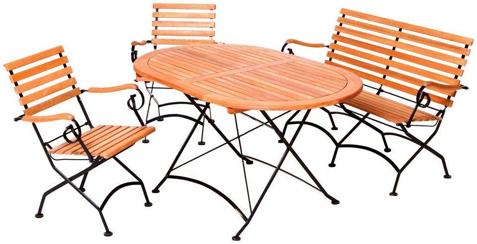 Merxx Schlossgarten merxx gartenmöbelset schloßgarten 4tlg 2 sessel bank tisch