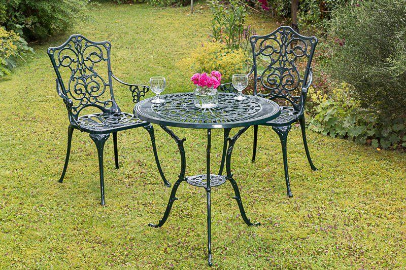 MERXX Gartenmöbelset »Lugano«, 3tlg., 2 Sessel, Tisch Ø 70 cm, Aluminium, grün