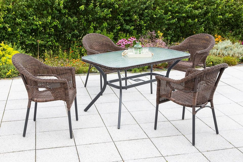 merxx gartenm belset ravenna 5tlg 4 sessel tisch stapelbar polyrattan braun online. Black Bedroom Furniture Sets. Home Design Ideas