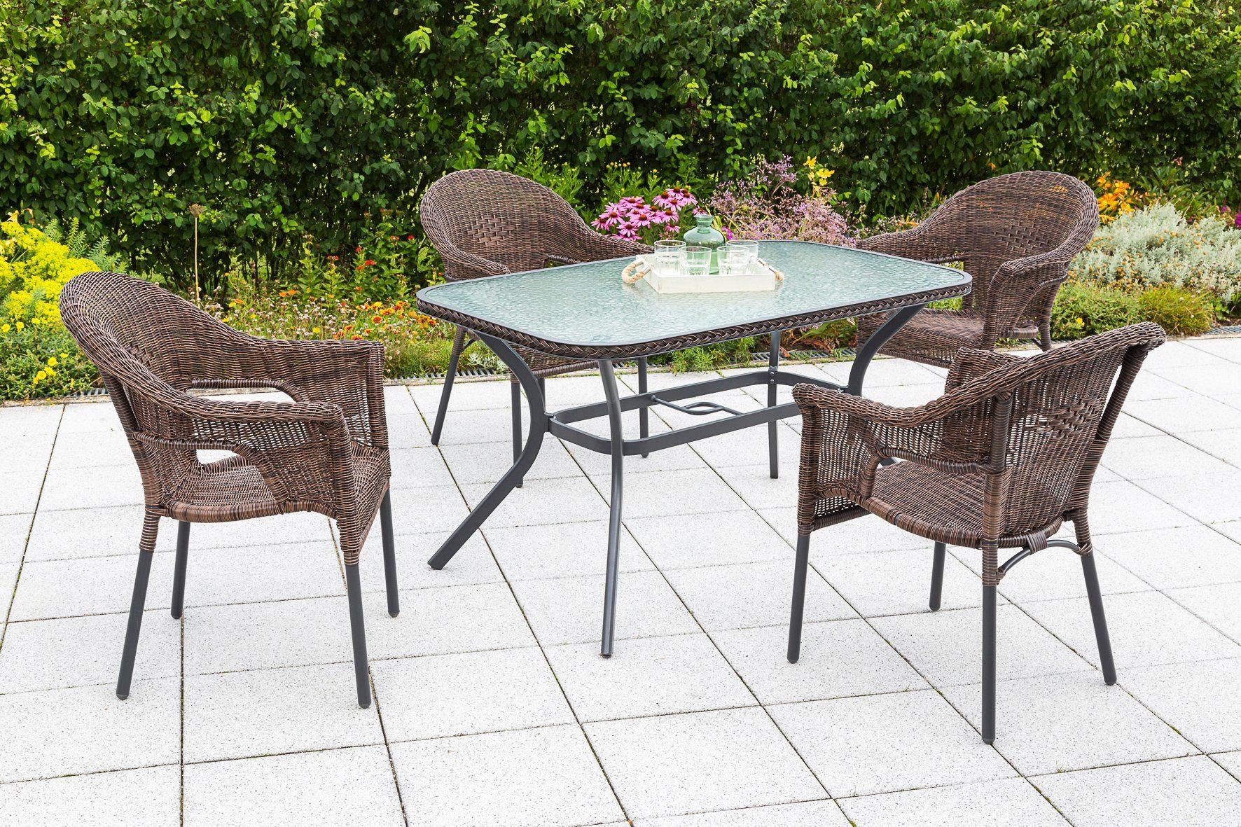 MERXX Gartenmöbelset »Ravenna«, 5tlg., 4 Sessel, Tisch, stapelbar, Polyrattan, braun