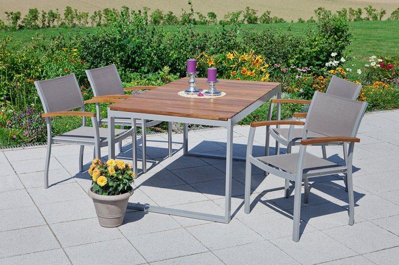 MERXX Gartenmöbelset »Naxos«, 5tlg., 4 Sessel, Tisch, Stapelbar,