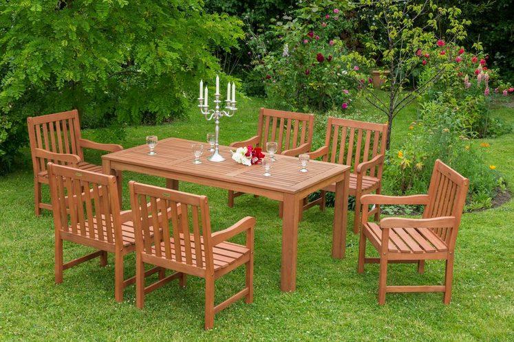 MERXX Gartenmöbelset »Santos«, 7tlg., 6 Sessel, Tisch, Eukalyptuzsholz, natur