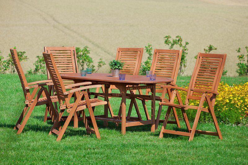 MERXX Gartenmöbelset »Cordoba«, 7tlg., 6 Sessel, Tisch, ausziehbar, klappbar, Eukalyptus