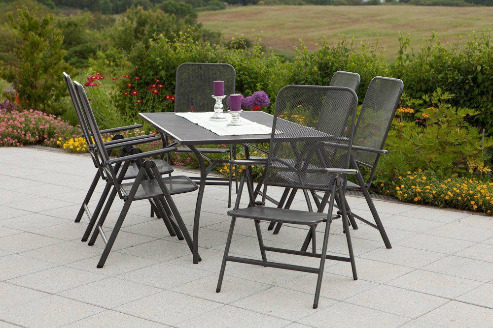 MERXX Gartenmöbelset »Paxos«, 7tlg., 6 Sessel, Tisch, klppbar, Stahl, graphit