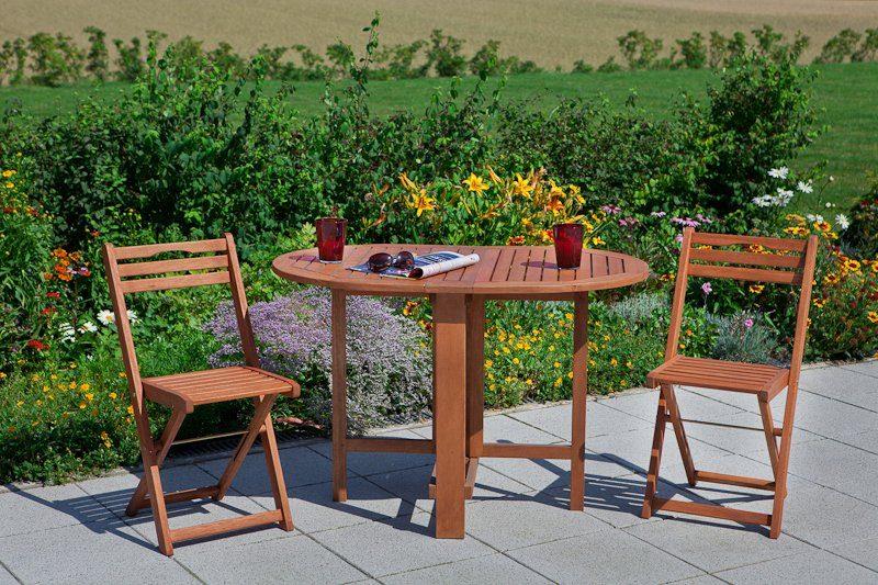 MERXX Gartenmöbelset »Porto«, 3tlg., 2 Sessel, Tisch, klappbar, Eukalyptusholz, natur