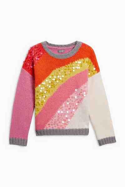 Next Regenbogen-Pullover mit Pailletten