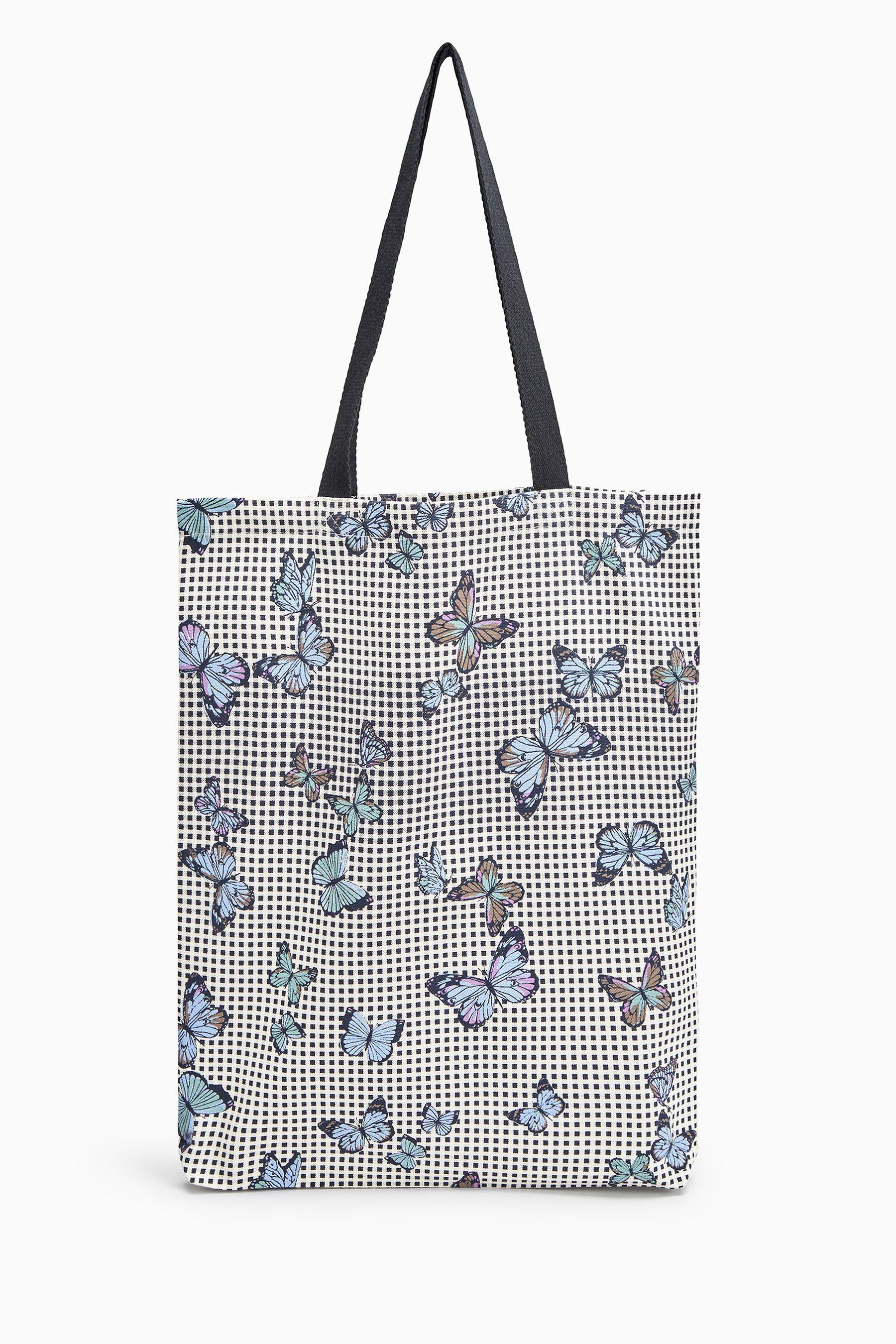 Next Karierte Shopper-Tasche mit Schmetterling