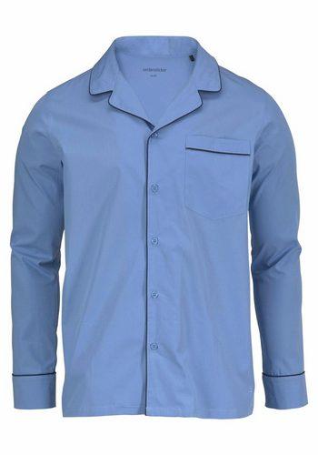 Herren Seidensticker Webpyjama lang blau   04047067440864