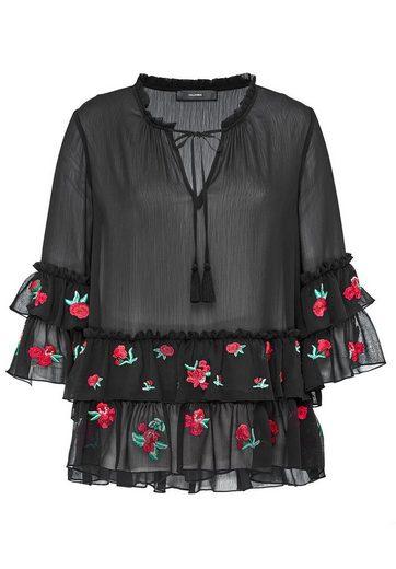HALLHUBER Crinkle-Bluse mit rosenbestickten Volants