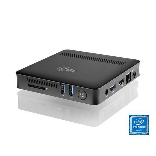 CSL Silent Mini PC - lautlos, WLAN, 4GB RAM, 120GB SSD »Narrow Box UHD Compact, Windows 10«