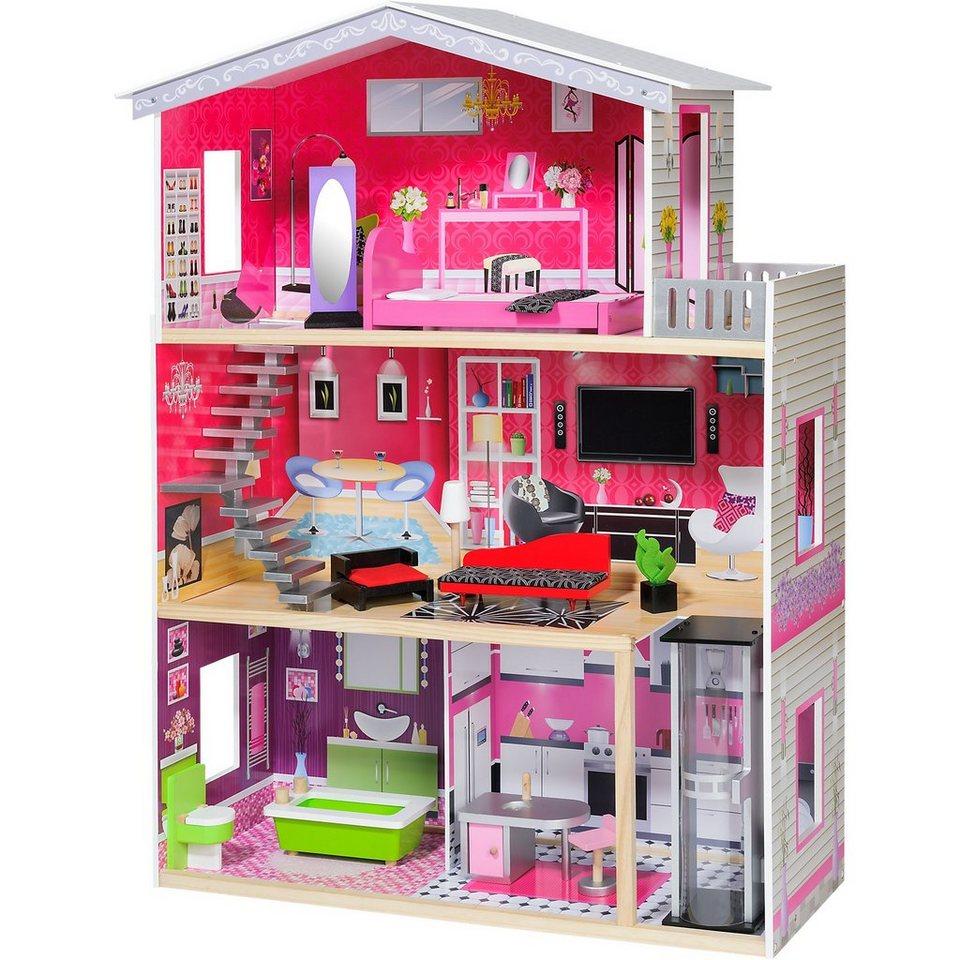 mytoys modernes puppenhaus mit lift inkl m beln f r 29cm. Black Bedroom Furniture Sets. Home Design Ideas