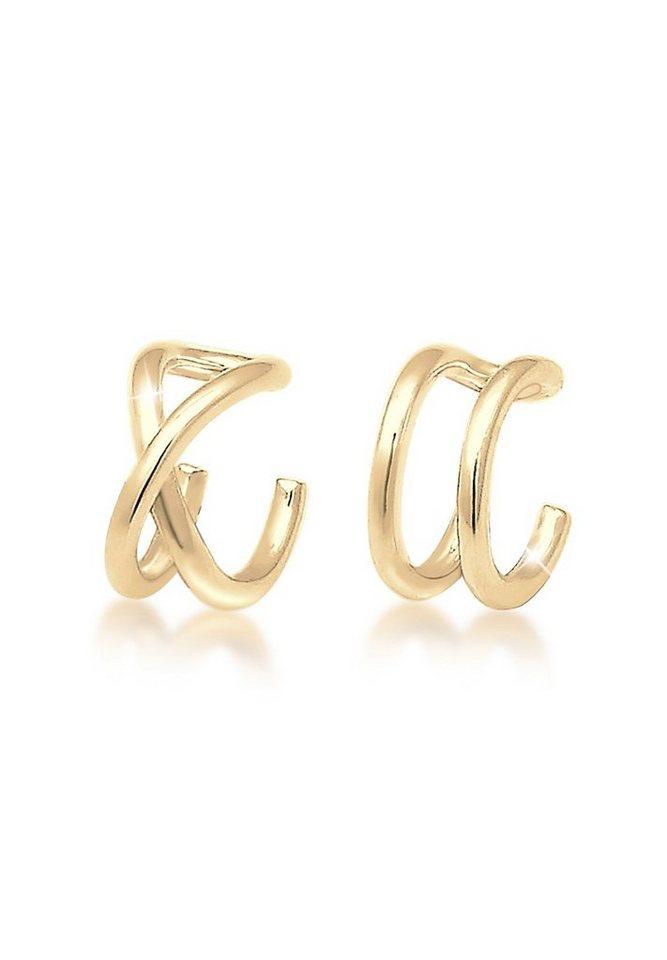 Elli Ohrringe »Earcuff Set Geo Basic Minimal 925 Silber vergoldet ... a6240050cb