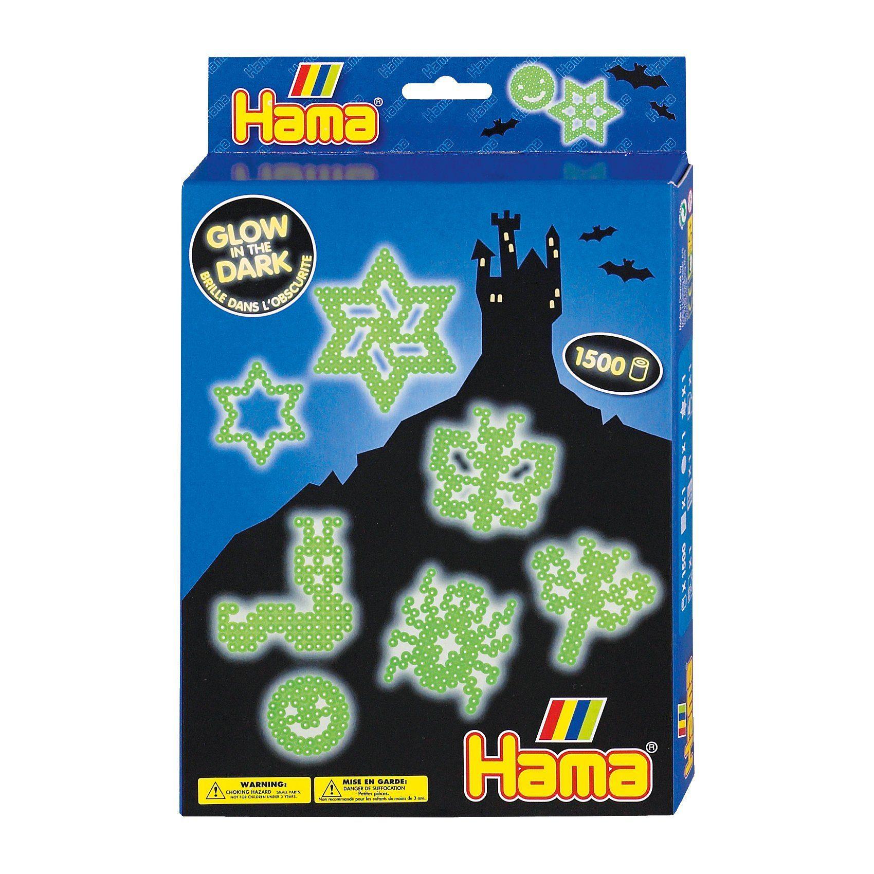 Hama Perlen HAMA 3414 Geschenkset Nachtleuchtend, 1.500 midi-Leuchtperle