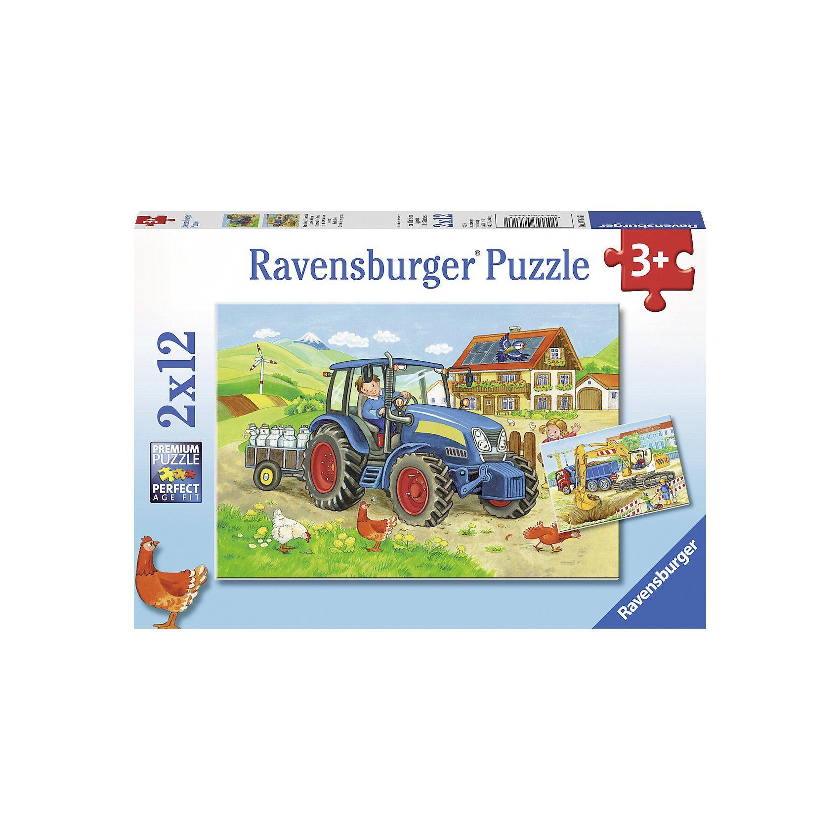 Ravensburger Puzzleset 2 x 12 Teile Baustelle und Bauernhof