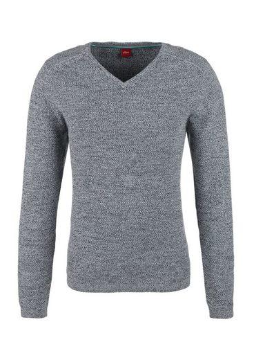 S.oliver Étiquette Rouge Mouline-pullover V-cou