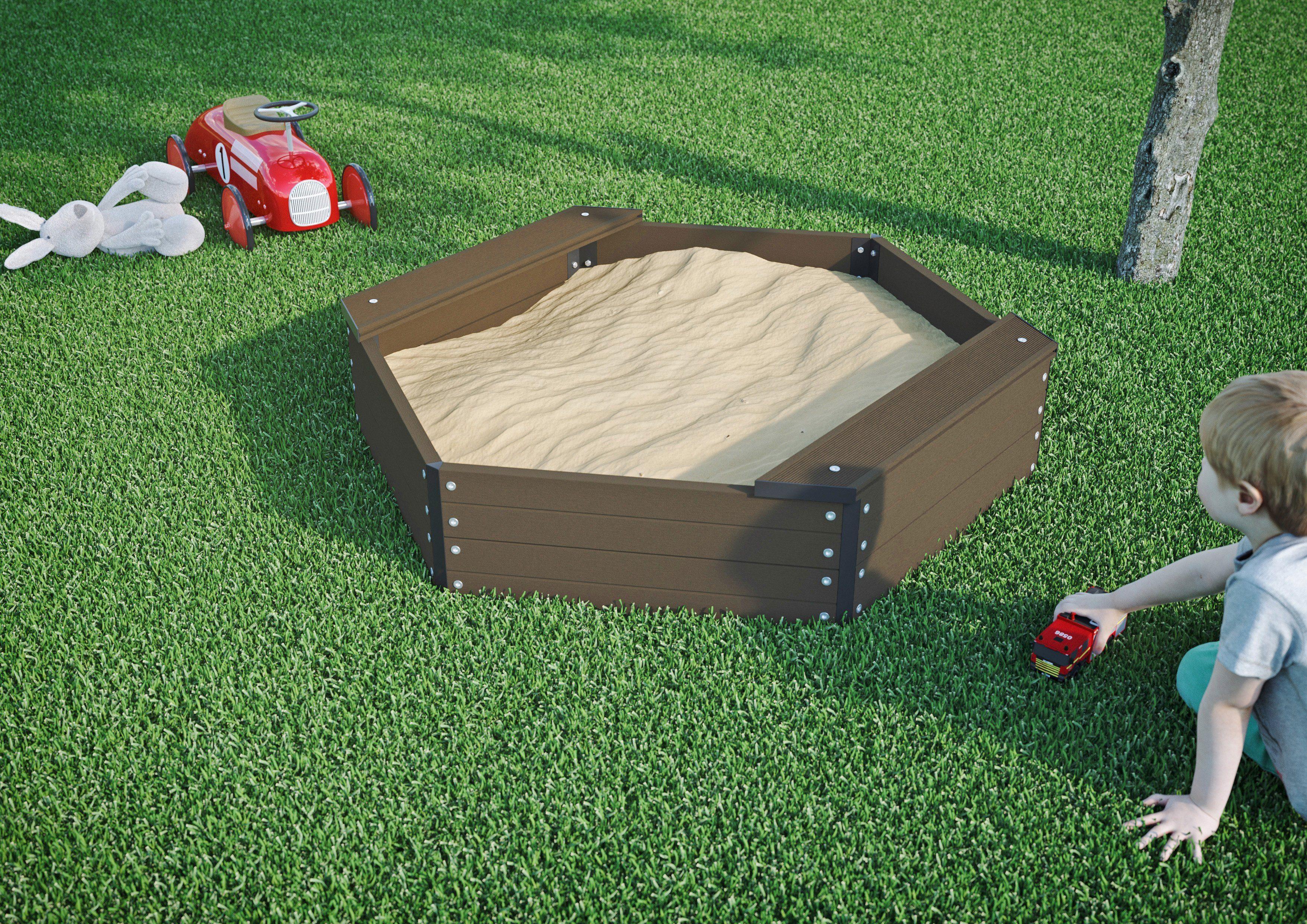 LUOMAN Sandkasten , 6-eck, BxTxH: 109x109x27 cm
