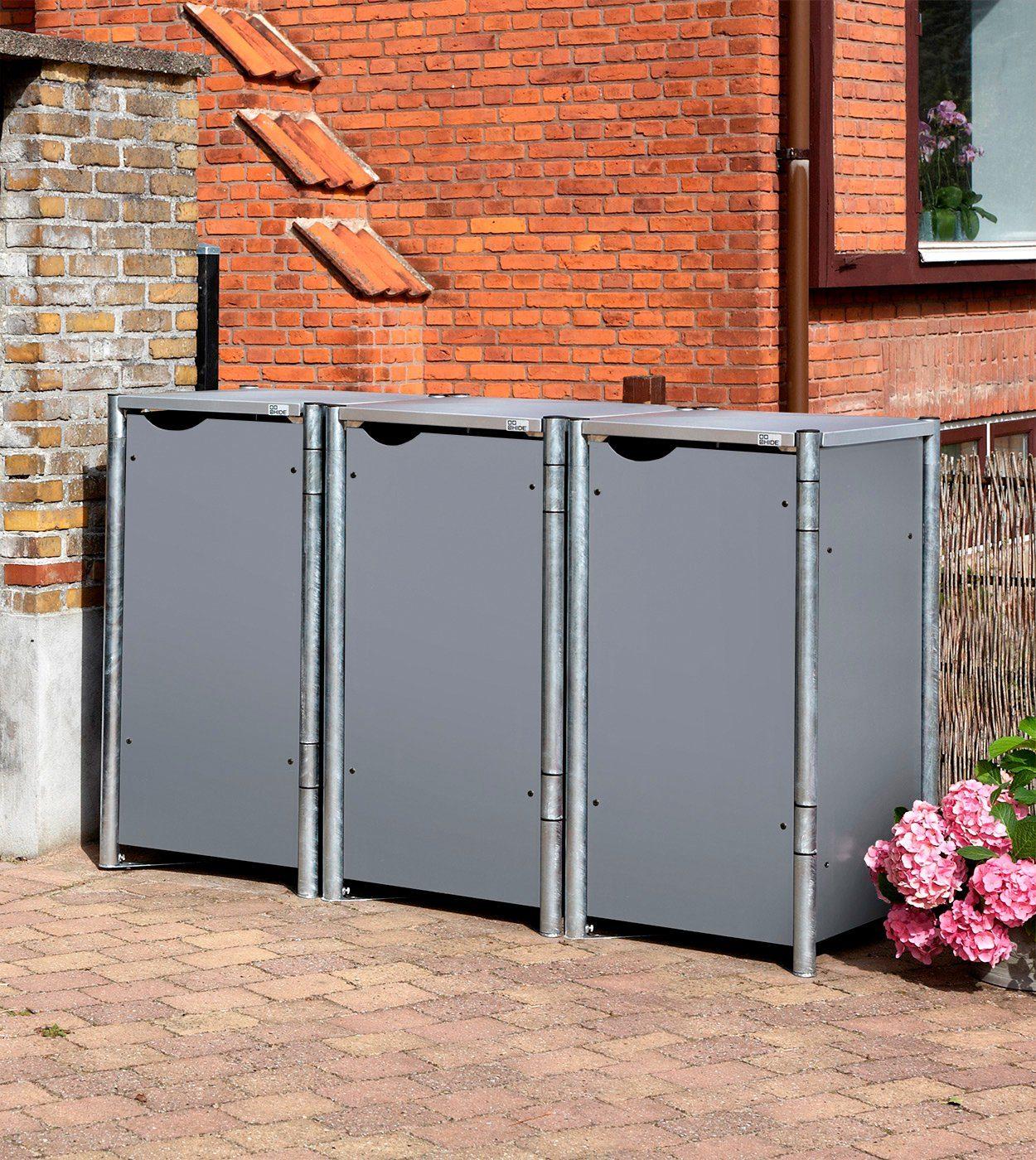 Mülltonnenbox , für 3 x 120 l, grau