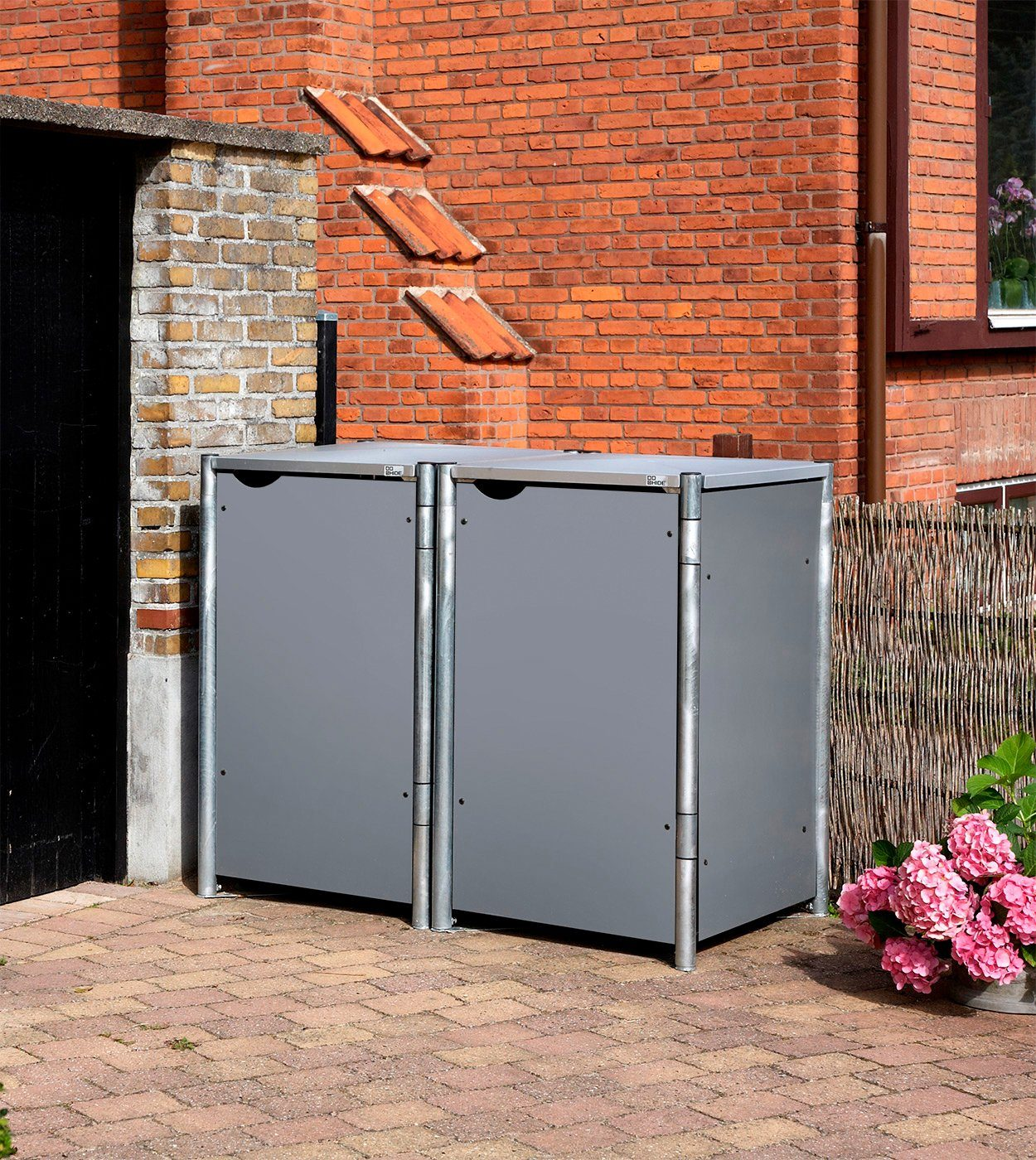Mülltonnenbox , für 2 x 240 l, grau