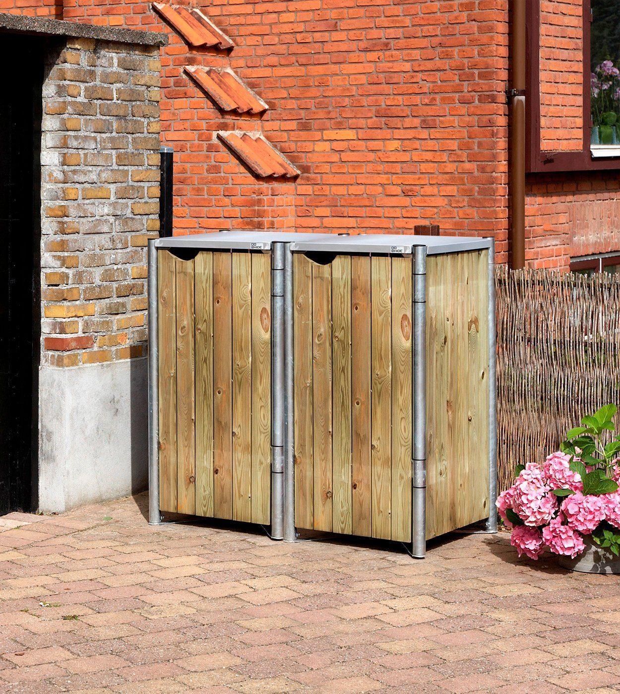 Mülltonnenbox , für 2 x 120 l, natur