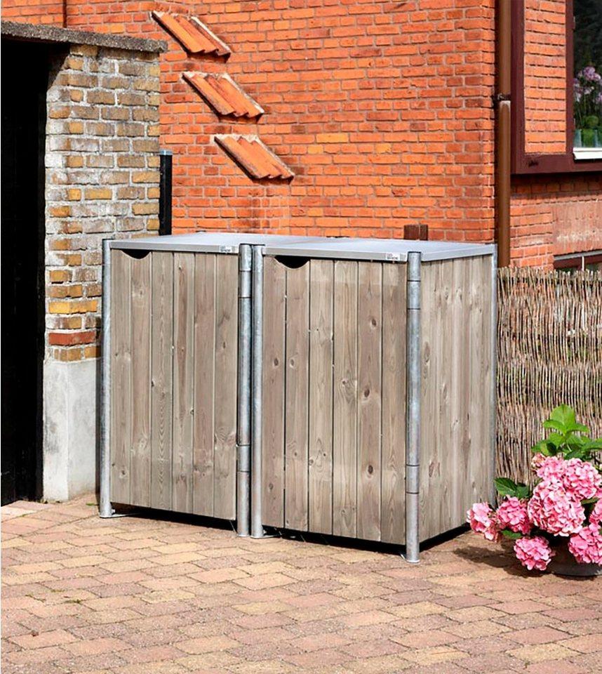 mülltonnenbox , für 2 x 240 l, grau/natur kaufen | otto