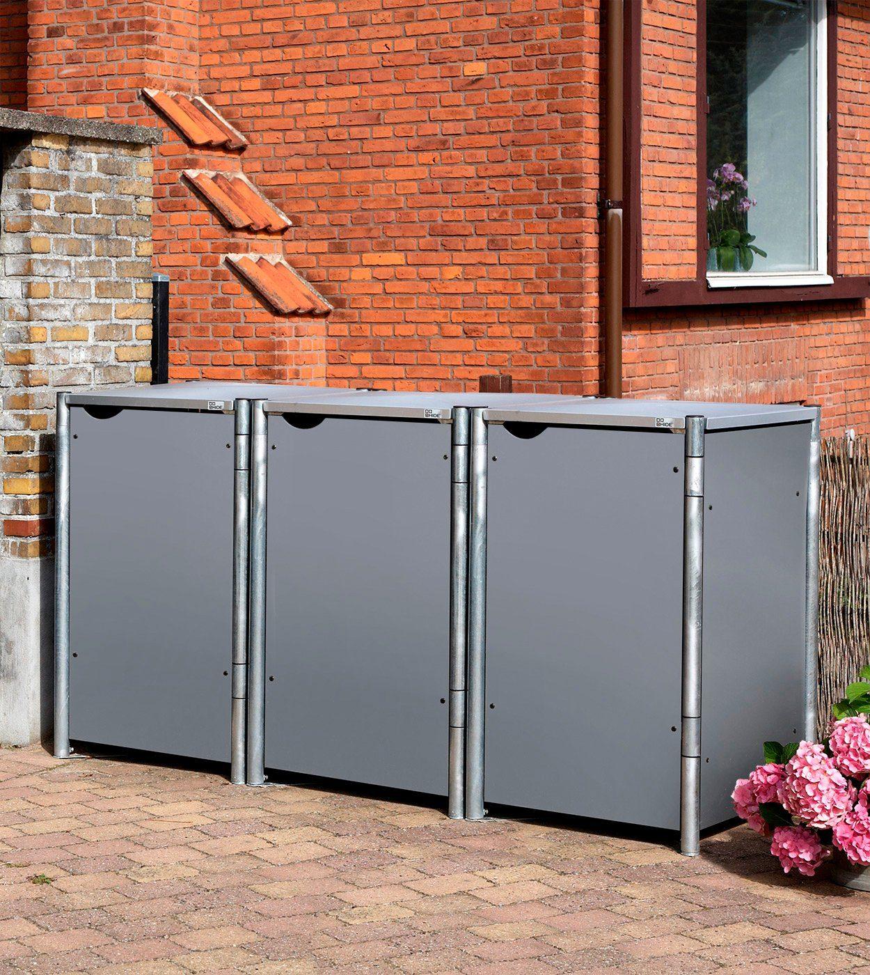 Mülltonnenbox , für 3 x 240 l, grau