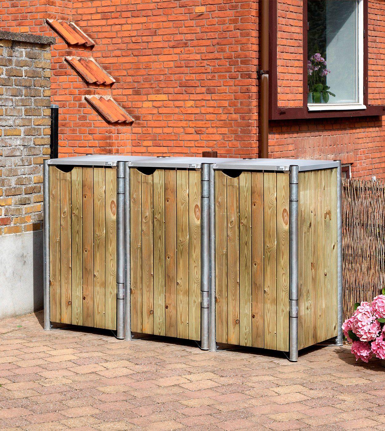 Mülltonnenbox , für 3 x 120 l, natur