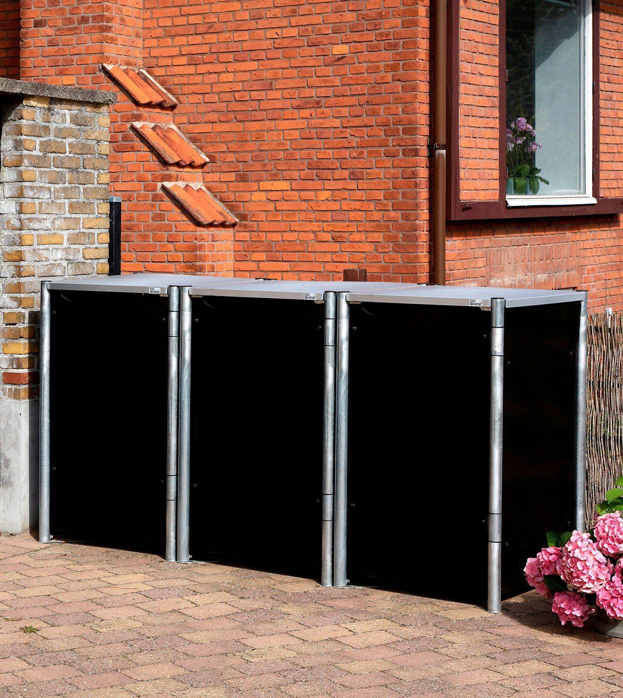 Mülltonnenbox , für 3 x 240 l, schwarz