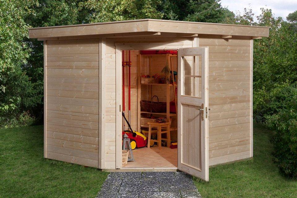 weka gartenhaus 229 gr 2 bxt 270x270 cm inkl fu boden aus naturbelassenem fichtenholz. Black Bedroom Furniture Sets. Home Design Ideas