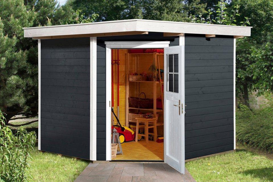 weka gartenhaus 229 gr 2 bxt 270x270 cm inkl fu boden aus lasiertem fichtenholz online. Black Bedroom Furniture Sets. Home Design Ideas