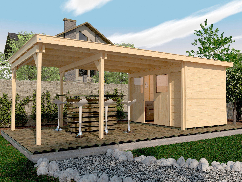 WEKA Set: Gartenhaus »225 B Gr.1«, BxT: 678x325 cm, inkl. Anbaudach und Fußboden
