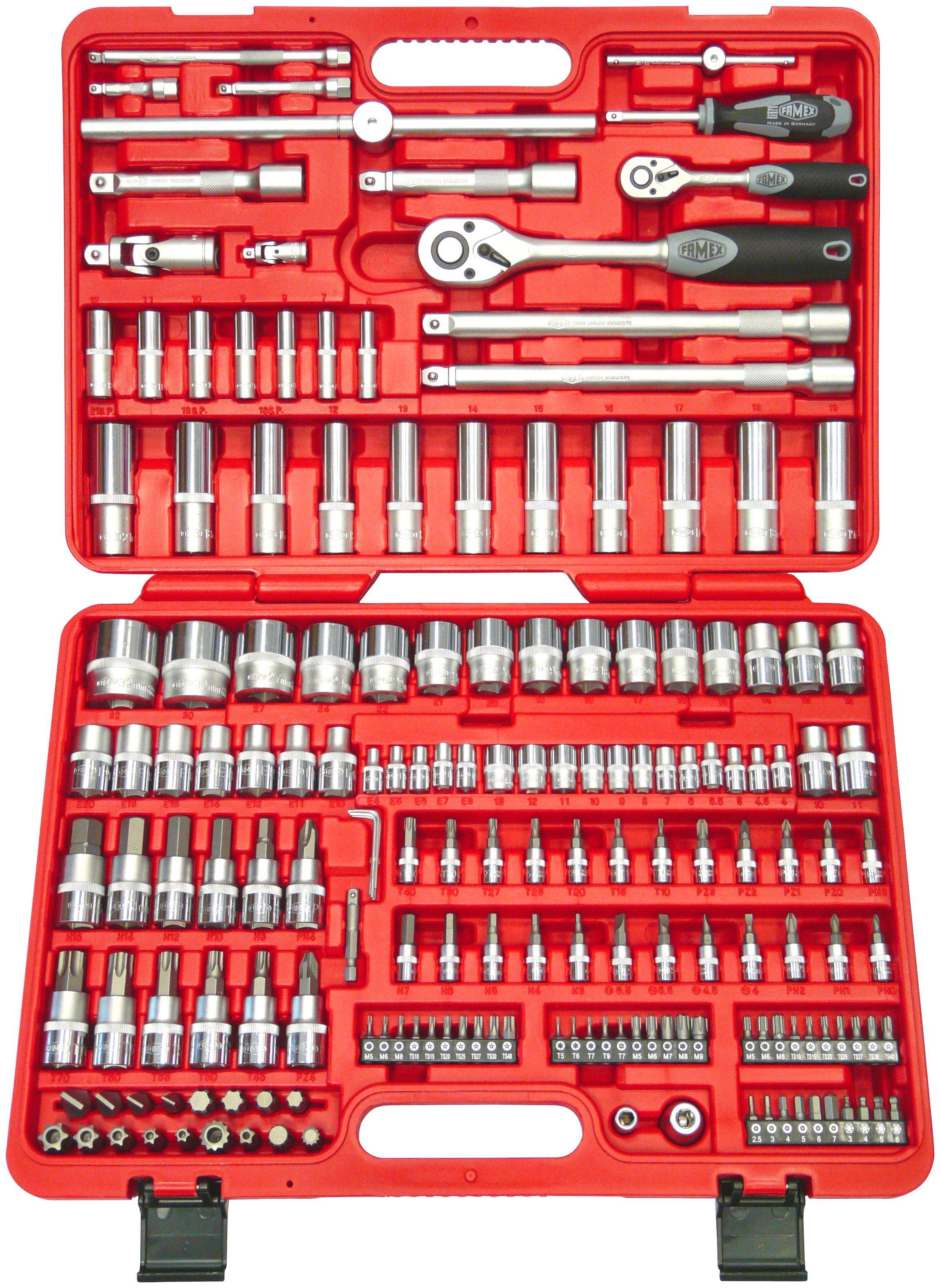 FAMEX Werkzeugkoffer »526-SD-25 «, Steckschlüsselsatz mit Feinzahnknarren, 173-tlg.