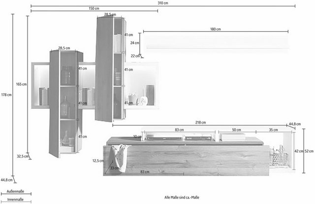 Wohnwände - set one by Musterring Wohnwand »tampa«, (Set, 3 tlg), mit Beleuchtung für Hängekombi  - Onlineshop OTTO