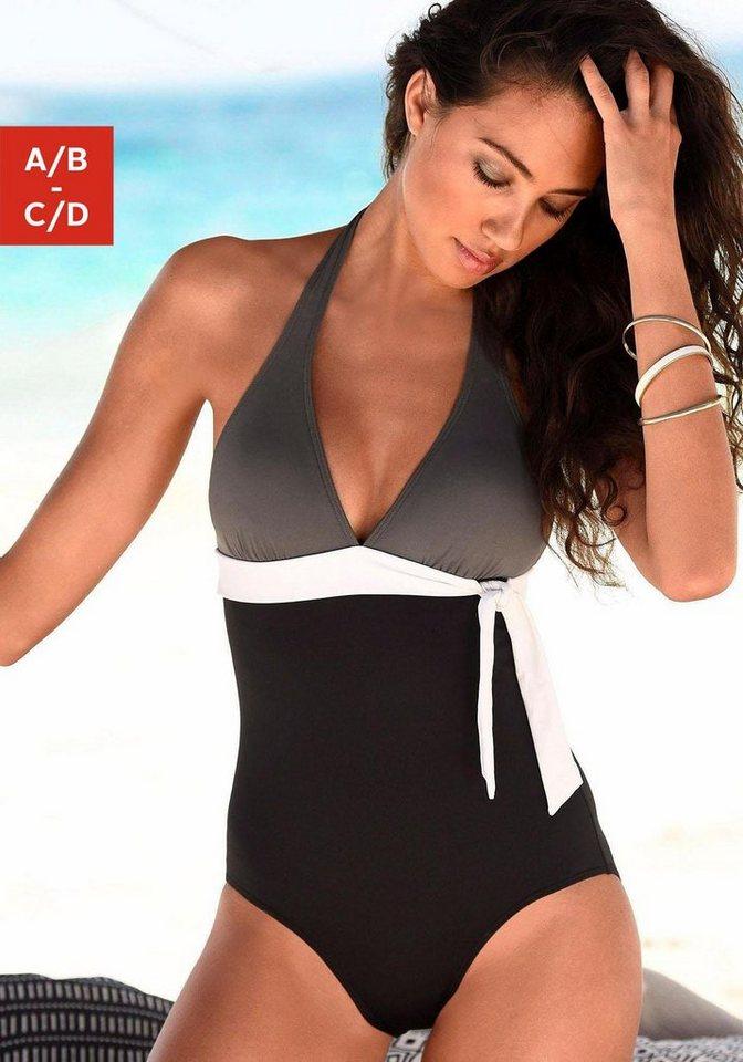 Bademode - s.Oliver Beachwear Badeanzug, in Colourblocking Optik › schwarz  - Onlineshop OTTO