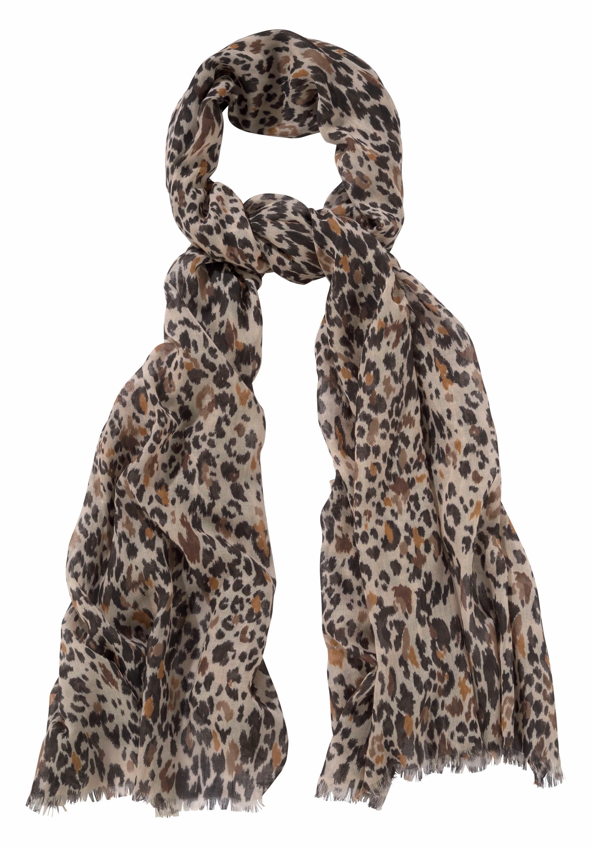 J.Jayz Modeschal Leichter Schal im Leo Look, Animal Print