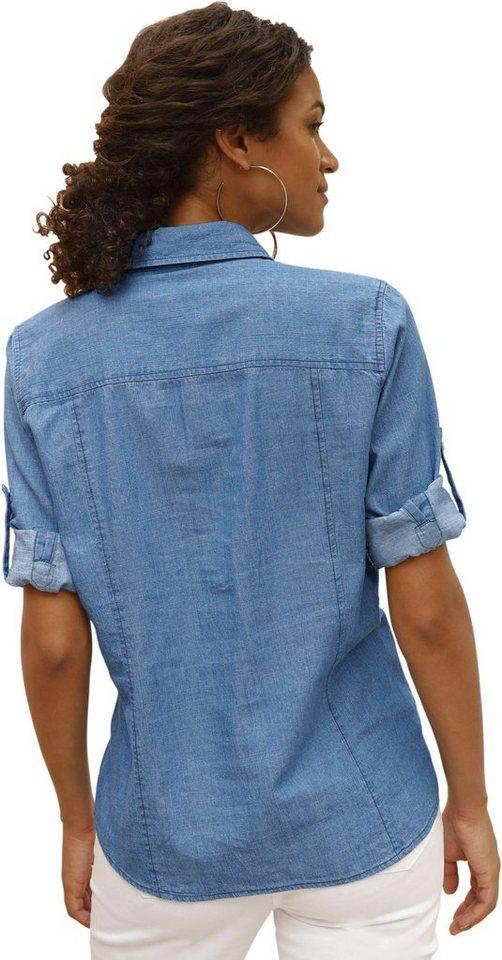 Casual Looks Bluse mit dekorativer Biesenverzierung